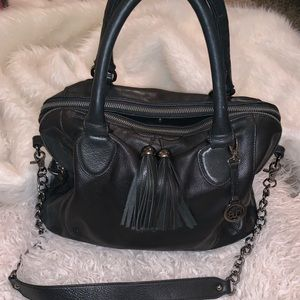 Black leather hobo tassels handbag Audrey Brooke